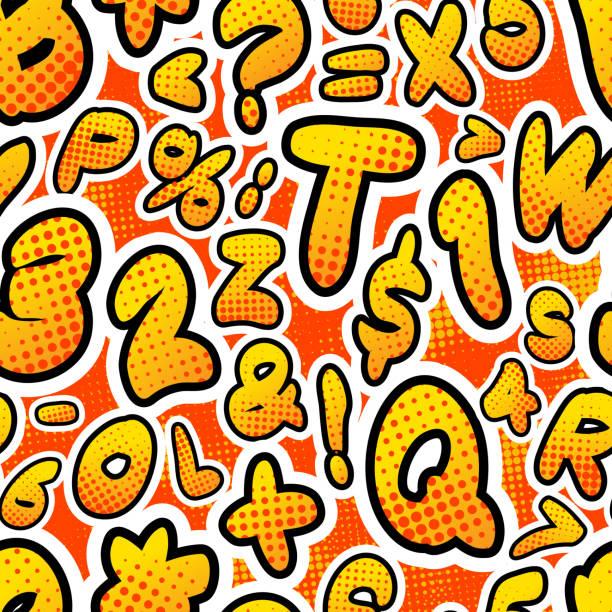 ilustraciones, imágenes clip art, dibujos animados e iconos de stock de letras de comics colorido brillante, patrón sin costuras en rojo - tipos de letra de historietas