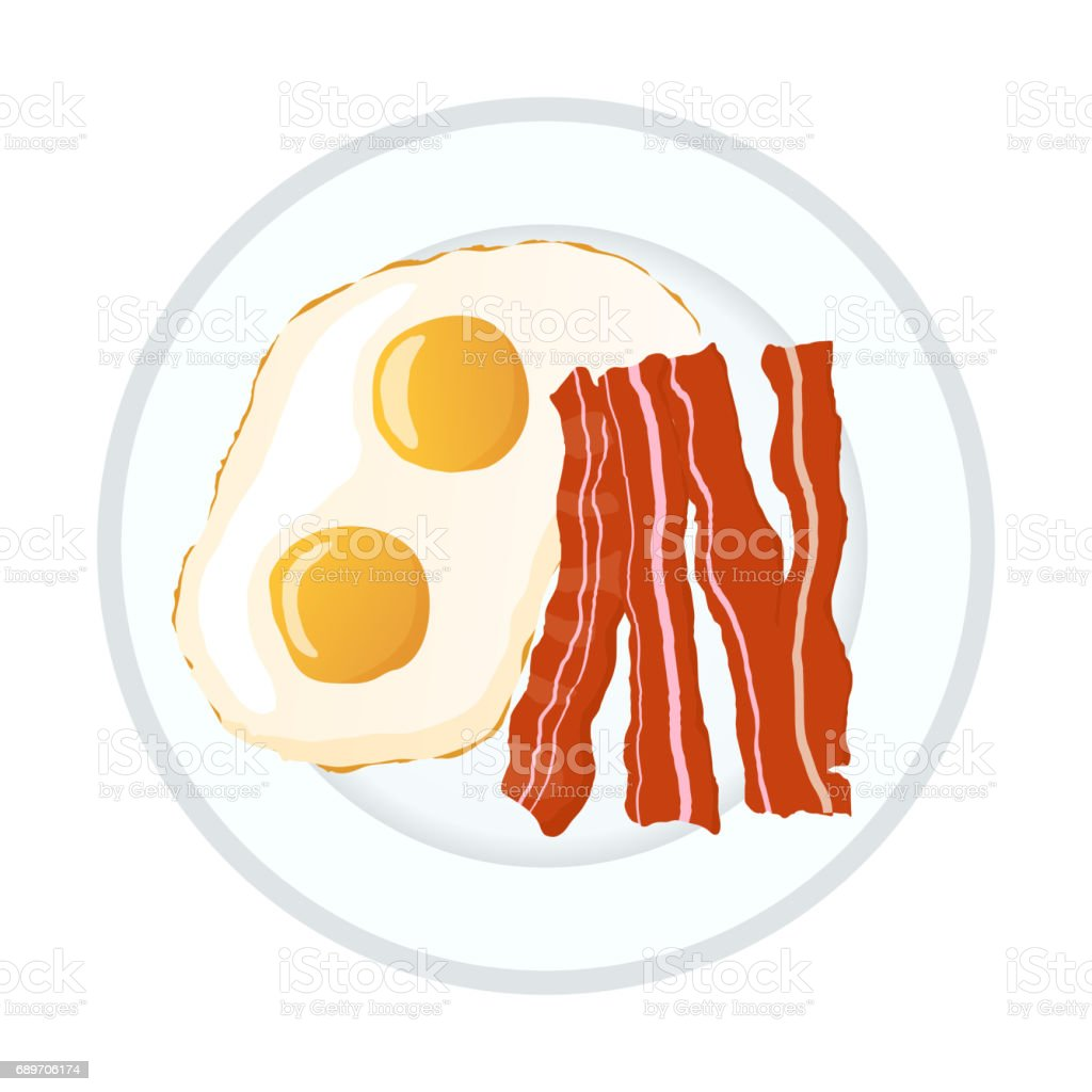 Bright colorful fried eggs with bacon, breakfast icon isolated on white vector art illustration