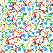 Bright colorful multiple sports balls icons on white, seamless pattern
