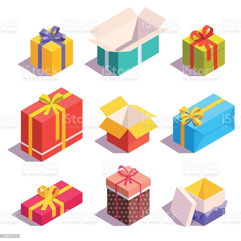 Bright, colorful present and gift boxes vector art illustration