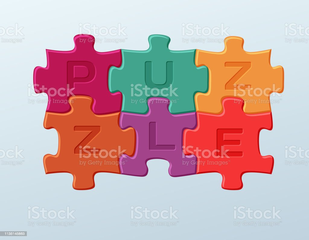6 Bright Colorful Puzzle Pieces Vector Illustration 2 X 3