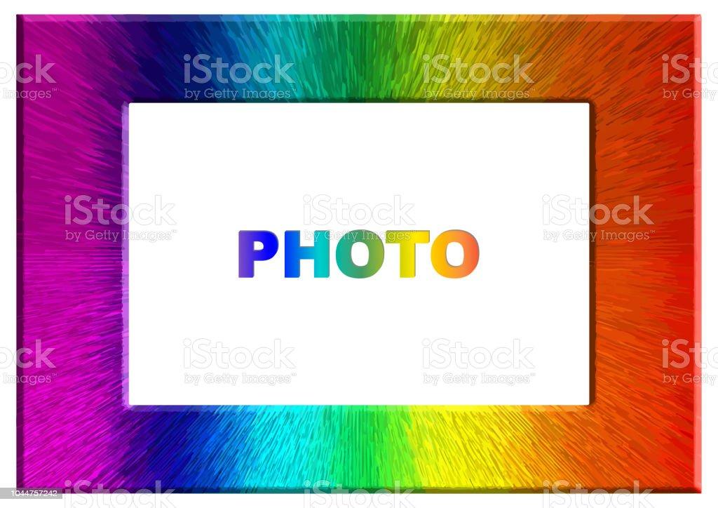 Marco de fotos de color de arco iris de colores brillantes - ilustración de arte vectorial