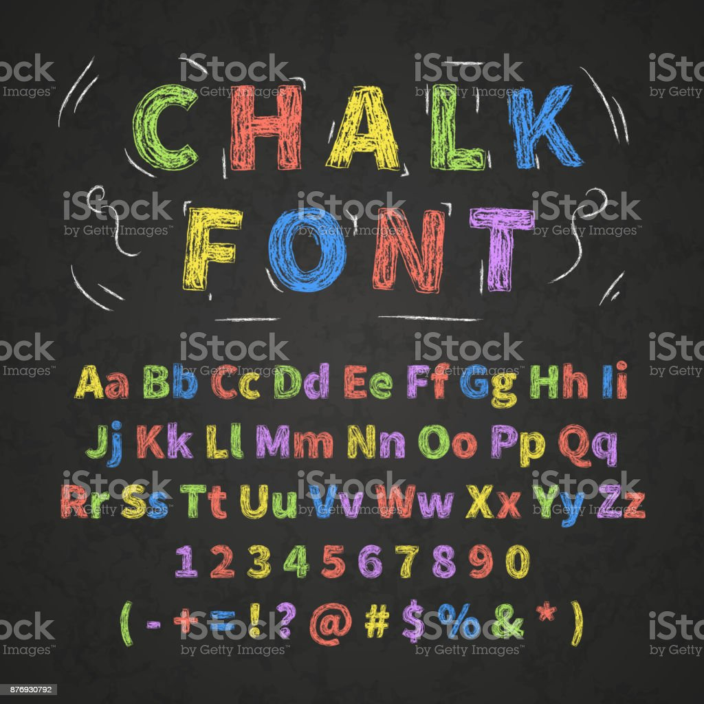 Bright colorful retro hand drawn alphabet letters drawing with chalk on black chalkboard royalty-free bright colorful retro hand drawn alphabet letters drawing with chalk on black chalkboard stock illustration - download image now