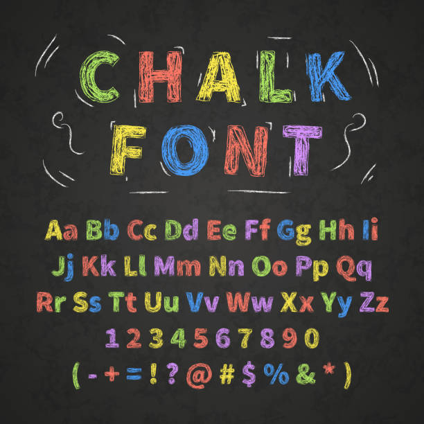 bright colorful retro hand drawn alphabet letters drawing with chalk on black chalkboard - alphabet drawings stock illustrations