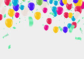 istock Bright colorful stars and balloons border on a background. Festive birthday party vector poster. Celebration illustration. 1288096402