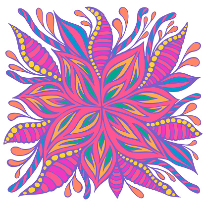 Bright colorful summer flower, pastel neon color, isolated background. Psychedelic flower, framed by leaves and buds. Vector hand drawn illustration with blooming fantastic floret. Doodle hippie style