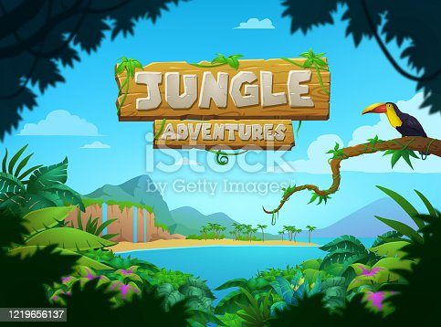 istock Bright colorful tropical Jungle Adventures poster 1219656137