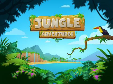 Bright colorful tropical Jungle Adventures poster