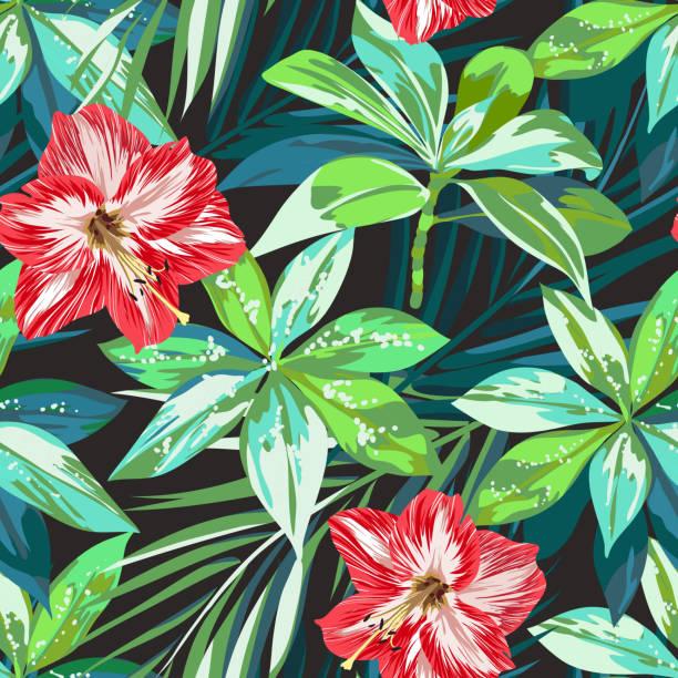 bildbanksillustrationer, clip art samt tecknat material och ikoner med bright colorful tropical seamless background with leaves and flowers - amaryllis