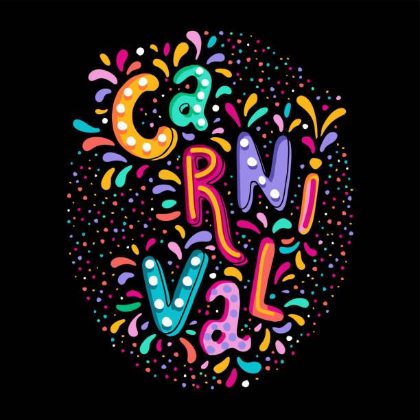 ilustraciones, imágenes clip art, dibujos animados e iconos de stock de brillante colorido vector manuscrita letras de texto. evento popular en brasil. título de carnaval con elementos de fiesta coloridos. - carnaval