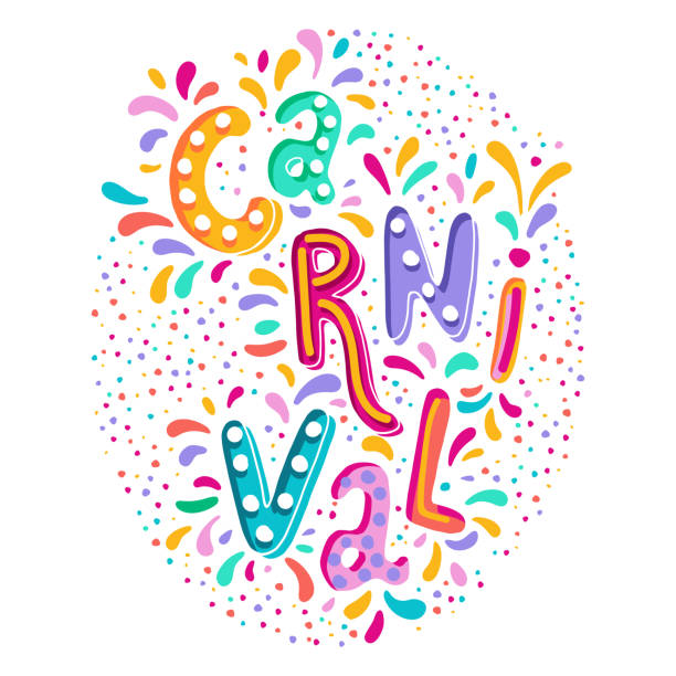 bright colorful vector handwritten lettering text. popular event in brazil. carnival title with colorful party elements. - mardi gras cartoons stock illustrations, clip art, cartoons, & icons