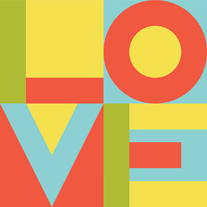 Bright colorful vector print with love letters on squares.