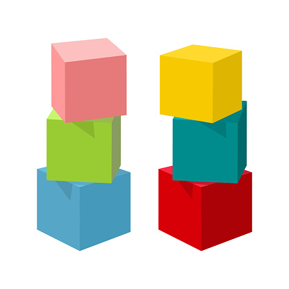 Bright colorful vector toy bricks building towers