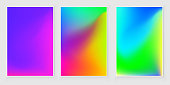 Blurred abstract  color background set. Trendy modern design Colorful rainbow gradient