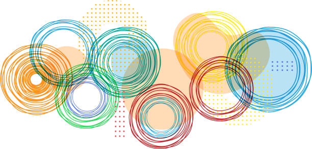 bright colors colorful circles background design element multi layered effect stock illustrations
