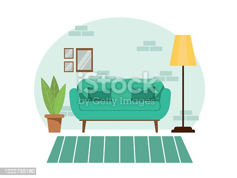 Bright comfortable cozy living room interior in