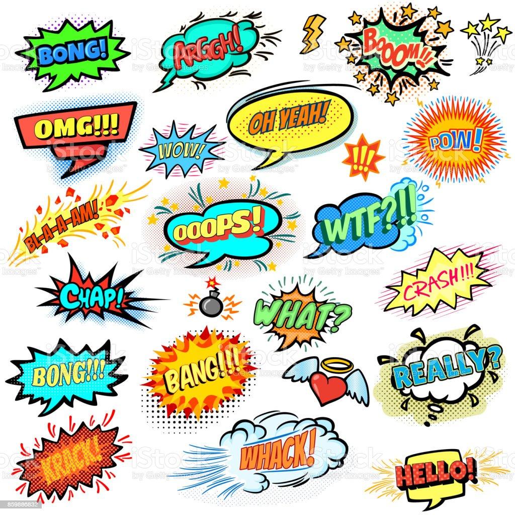 Bright comics design elements, vector cartoon illustration vector art illustration
