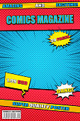 Bright comics magazine template with different wordings colorful speech bubbles rays and halftone effects in blue yellow red colors. Vector illustration