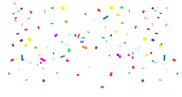 stockillustraties, clipart, cartoons en iconen met bright confetti holiday, festival, carnaval, verjaardagsfeest decoratie. vallende kleurrijke, veelkleurige confetti geïsoleerd op witte achtergrond met tropische palmbladeren frame en kopieerruimte vector template - confetti