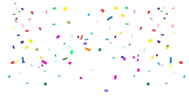 parlak konfeti tatil, festival, karnaval, doğum günü partisi dekorasyon. düşen renkli, çok renkli konfeti tropikal palmiye yaprakları çerçeve ve kopya uzay vektör şablonu ile beyaz arka plan izole - confetti stock illustrations