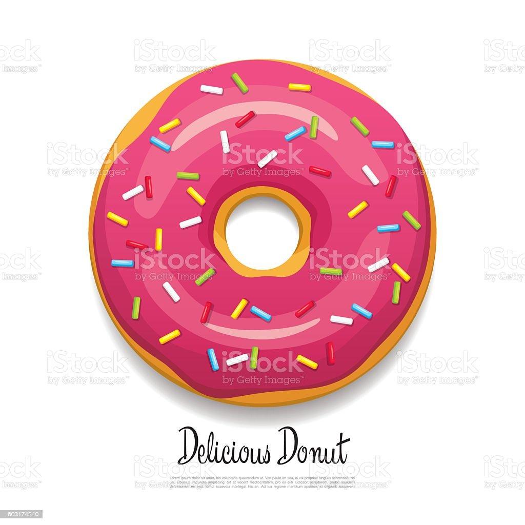 Bright delicious donut vector art illustration
