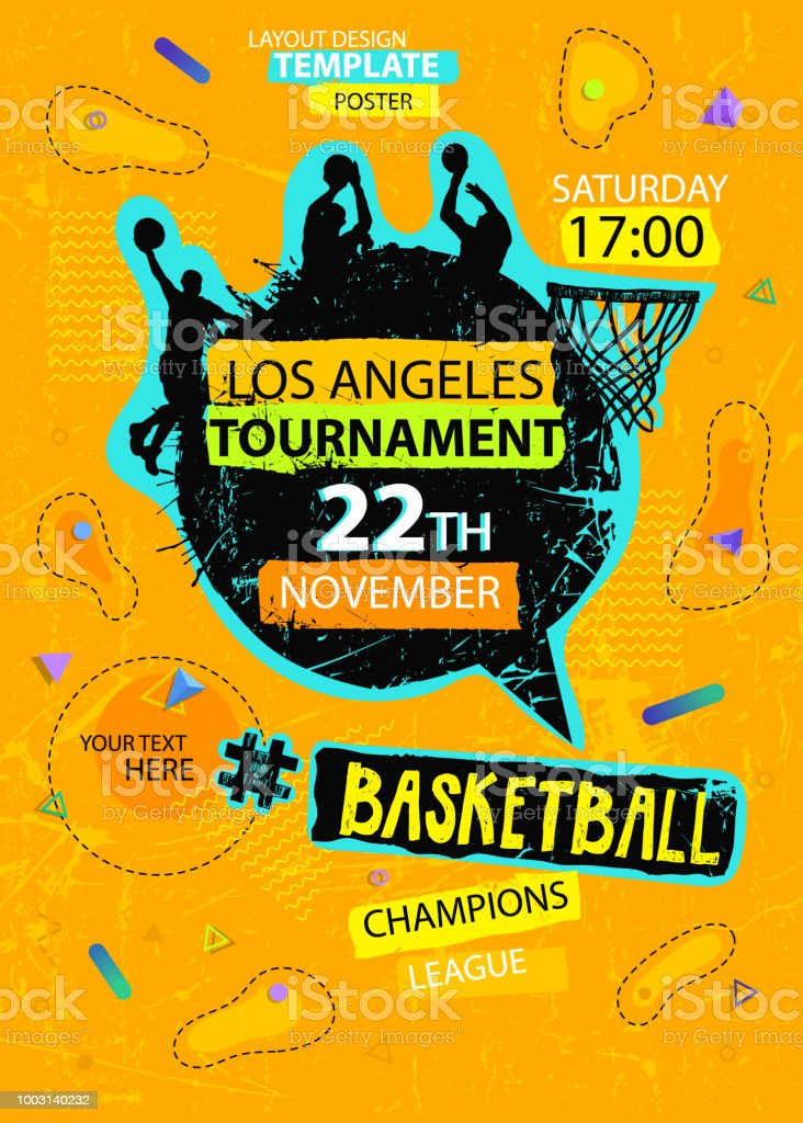 Bright Design for basketball. Poster for the tournament. Abstract geometric background. Streetball. Hand drawing texture, grunge style. Dynamic shapes composition. Web Sports Vertical Template.