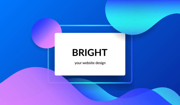 Bright design for corporate and personal website abnners and presentation slides. Bright design for corporate and personal website banners and presentation slides. Abstract landscape background with white info card and gradient color waves, shadows and blend on blue with copyspace hill stock illustrations
