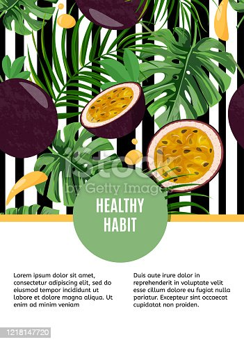istock Bright design template with whole passion fruit and half on white and black stripped background. Tropical leaves and fruits card. Healthy lifestyle, vegetarian style, healthy habit. 1218147720