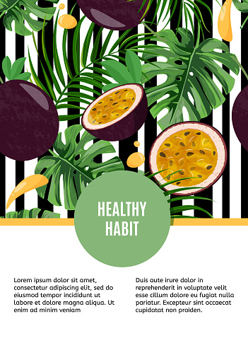 Bright design template with whole passion fruit and half on white and black stripped background. Tropical leaves and fruits card. Healthy lifestyle, vegetarian style, healthy habit.
