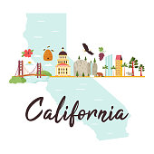 Bright design with famous places of California. Postes, leaflet, banner
