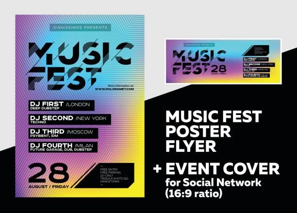 stockillustraties, clipart, cartoons en iconen met heldere dj poster voor zomerfestival. minimal electro cover voor fest. - nachtleven