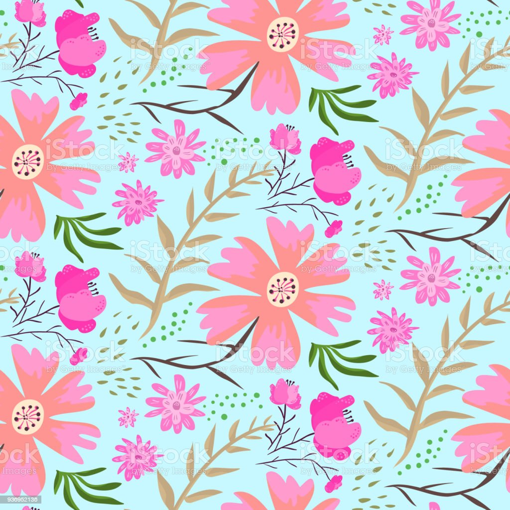 Bright doodle pink flowers summer pattern stock vector art more bright doodle pink flowers summer pattern royalty free bright doodle pink flowers summer pattern stock mightylinksfo