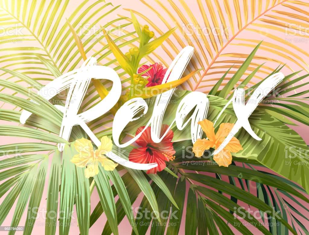 Bright exotic summer design with lettering integrated to tropical plants and flowers. Vector background of hibiscus flowers and royal and banana palm tree leaves vector art illustration