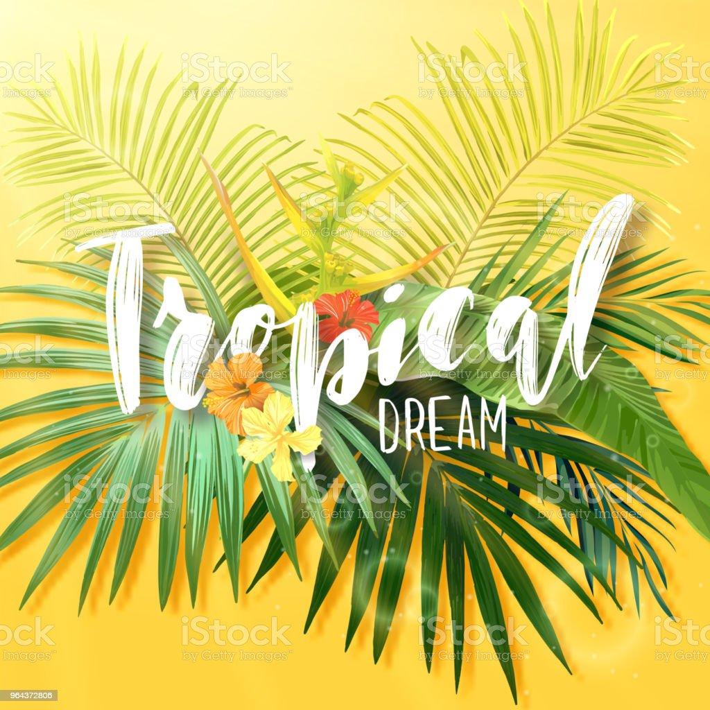 Projeto de verão exótico brilhante com letras integrado para flores e plantas tropicais. Folhas de fundo Vector de flores de hibisco e palmeira real e banana - Vetor de Arte royalty-free