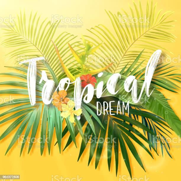Vetores de Projeto De Verão Exótico Brilhante Com Letras Integrado Para Flores E Plantas Tropicais Folhas De Fundo Vector De Flores De Hibisco E Palmeira Real E Banana e mais imagens de Arte