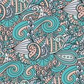 Bright fashionable seamless pattern is perfect for textilefor wallpaper,pattern fills, web page background.Colorful decorative seamless hand drawn doodle nature ornamental curl vector sketchy pattern