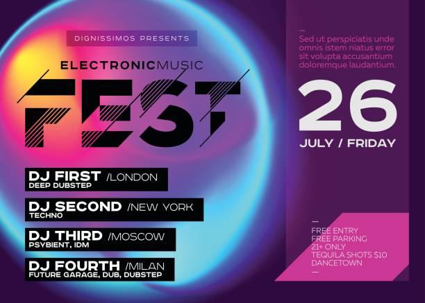 hell festival plakat. elektronische musik cover für sommerfest dj oder club party flyer. - edm stock-grafiken, -clipart, -cartoons und -symbole