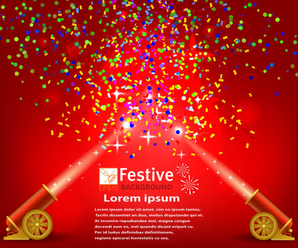 ilustraciones, imágenes clip art, dibujos animados e iconos de stock de bright festive red background with confetti and two firing canno - sparks