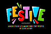 Bright festive style font