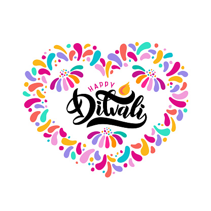 Bright festive vector lettering text Diwali with imitation of diya oil lamp with flame in confetti heart border frame