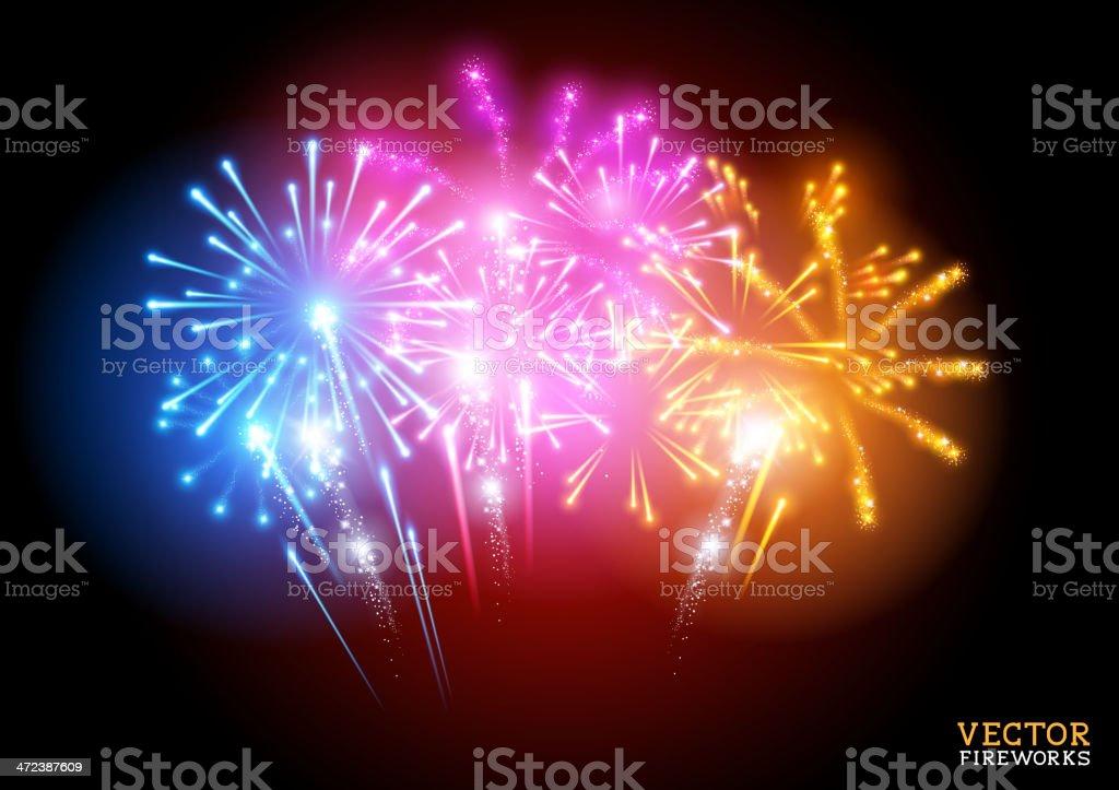 Bright Fireworks Display Vector vector art illustration