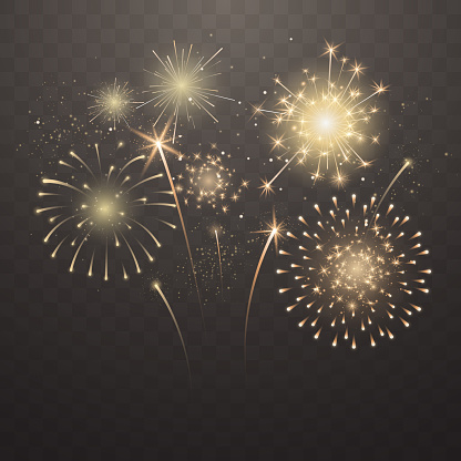 Bright fireworks explosions isolated on transparent background. New Year's Eve fireworks. Festive sparks and explosions. Realistic light effect. Element for yor design. Vector illustration