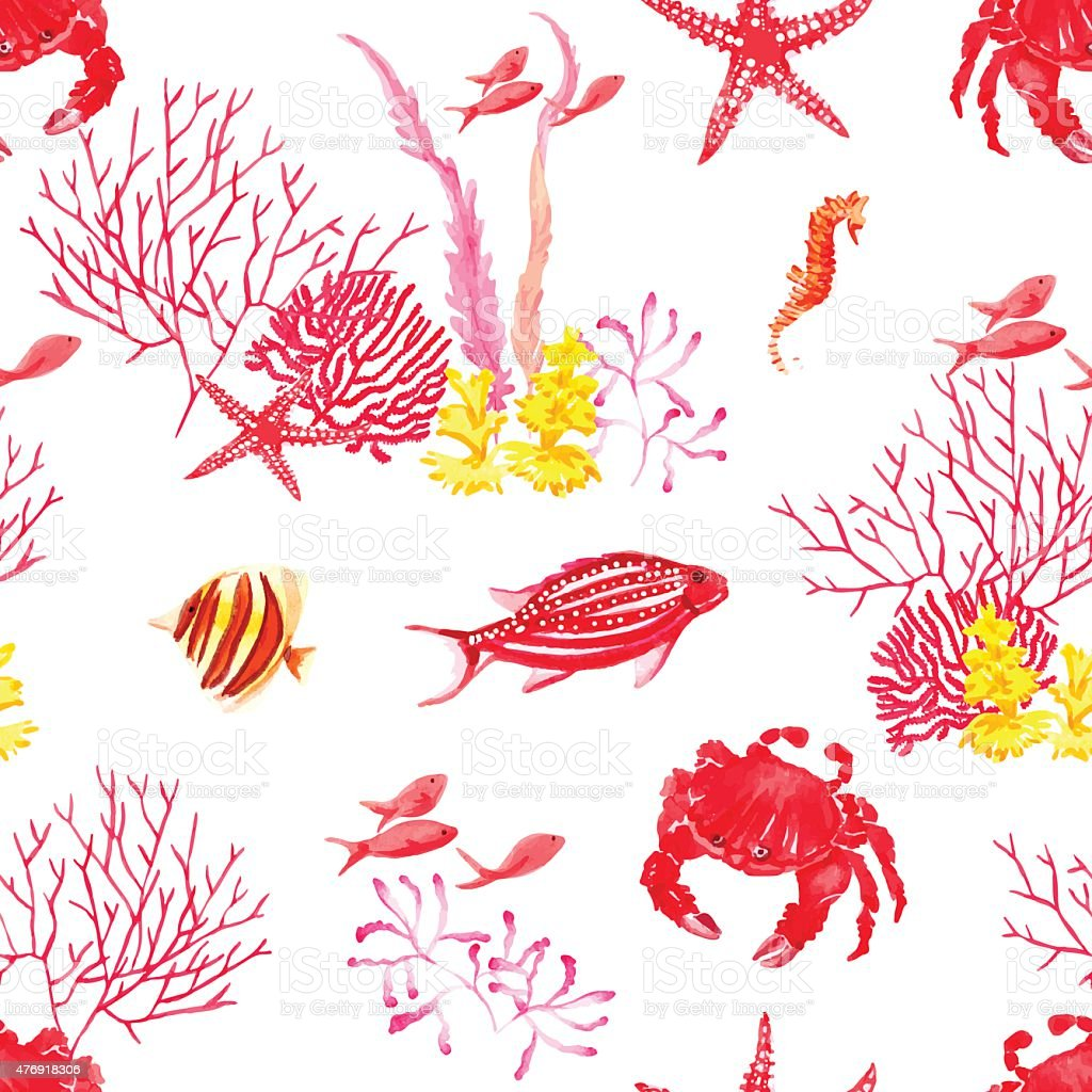 Bright fishes,crab, corals watercolor seamless vector pattern vector art illustration