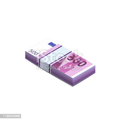 Bright five hundred euro banknotes in stack in isometric view, pile notes isolated on white