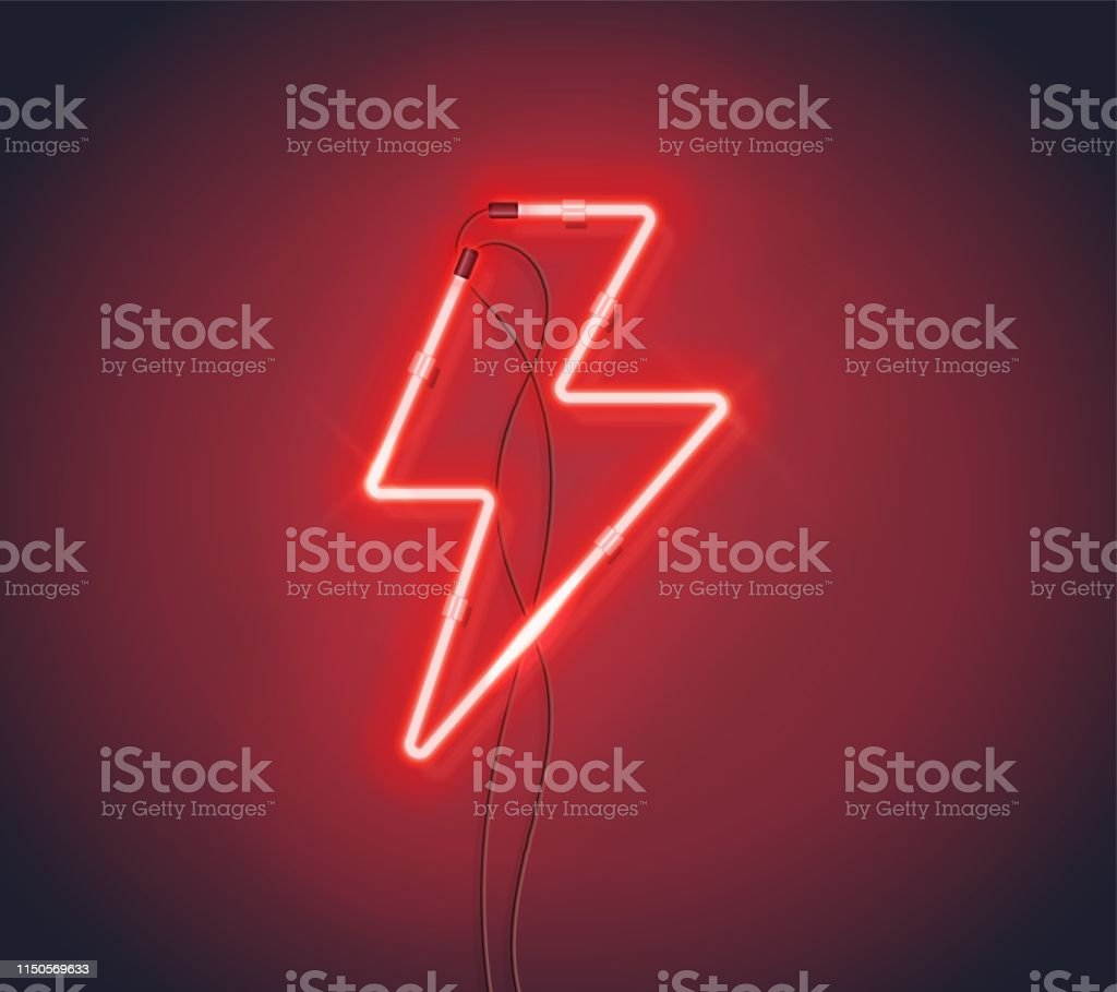 Bright Flash. Neon sign of lightning signboard on the red background....