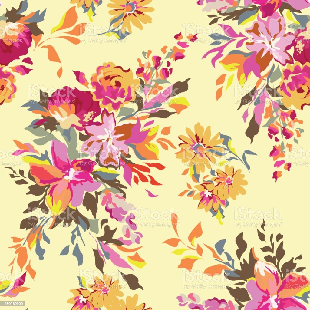 Bright Floral Print Seamless Background Stock Illustration