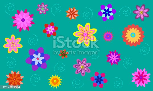 bright flowers of different sizes in the form of a background. Vector illustration.