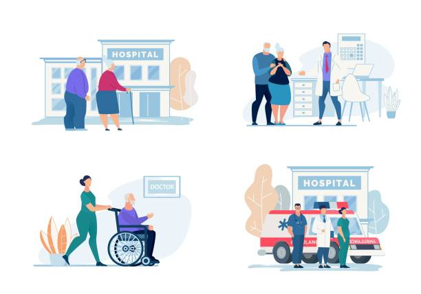 bright flyer hospital visit lettering, cartoon. - проживание с уходом stock illustrations