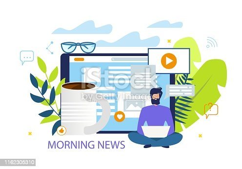 Bright Flyer Inscription Morning News Cartoon. Flat Banner Editor Internet Edition Works without Rest with Cup Coffee. Poster Guy Releases Daily News in Morning. Vector Illustration.