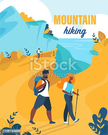 Bright Flyer is Written Mountain Hiking Cartoon. Husband and Wife Spend their Holidays in Mountains. Woman uses Equipment for Hiking. Man Carries Backpack. Vector Illustration Cartoon.